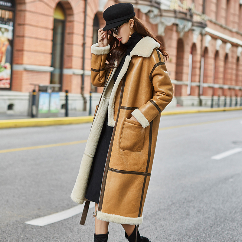 Natural Real Fur Coat Female Genuine Leather Jacket Winter Coat Women Clothes 2019 Korean Vintage Double-faced Long Tops ZT4271
