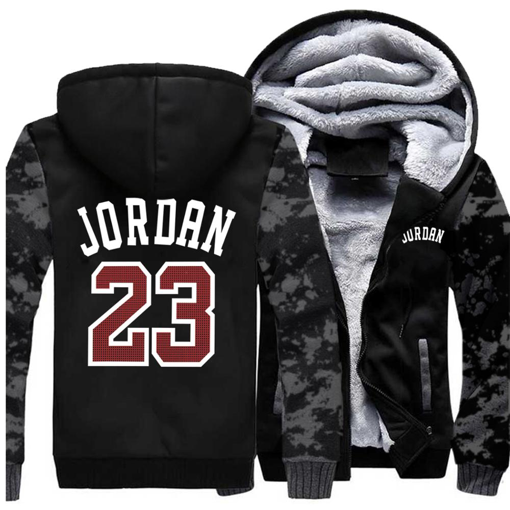 Mens Hoodies Jordan 23 Printed Fashion Streetwear Camouflage Thick Jacket 2019 Autumn Winter Hooded Sweatshirt Hoodie Men Coats