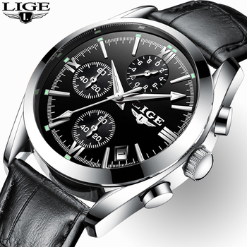 2020 New LIGE Fashion Mens Watches Top Brand Luxury Military Quartz Watch Premium Leather Waterproof Sport Chronograph Men