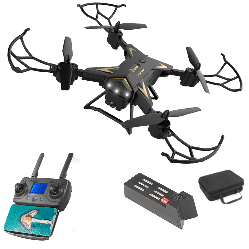 KY601G Intelligent FPV 4K HD ABS Drone LED Light Dual GPS Foldable Remote Control WIFI Photography USB Charging 4 Channels