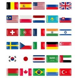 Bandeira decorativa para carros 3d itália/espanha/alemã/frança/suécia/rússia/belússia, 10 peças adesivo emblema de decalque para estilo de carro