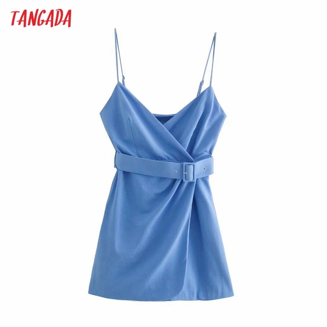 Tangada Women's Summer Dress Blue Dress With Belt Strap Adjust Sleeveless 2021 Fashion Lady Elegant Dresses 3H772 1