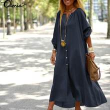 5xl plus tamanho botões vestido feminino vintage meados de bezerro vestido celmia outono 2021 moda casual manga comprida vestidos sólido escritório robe