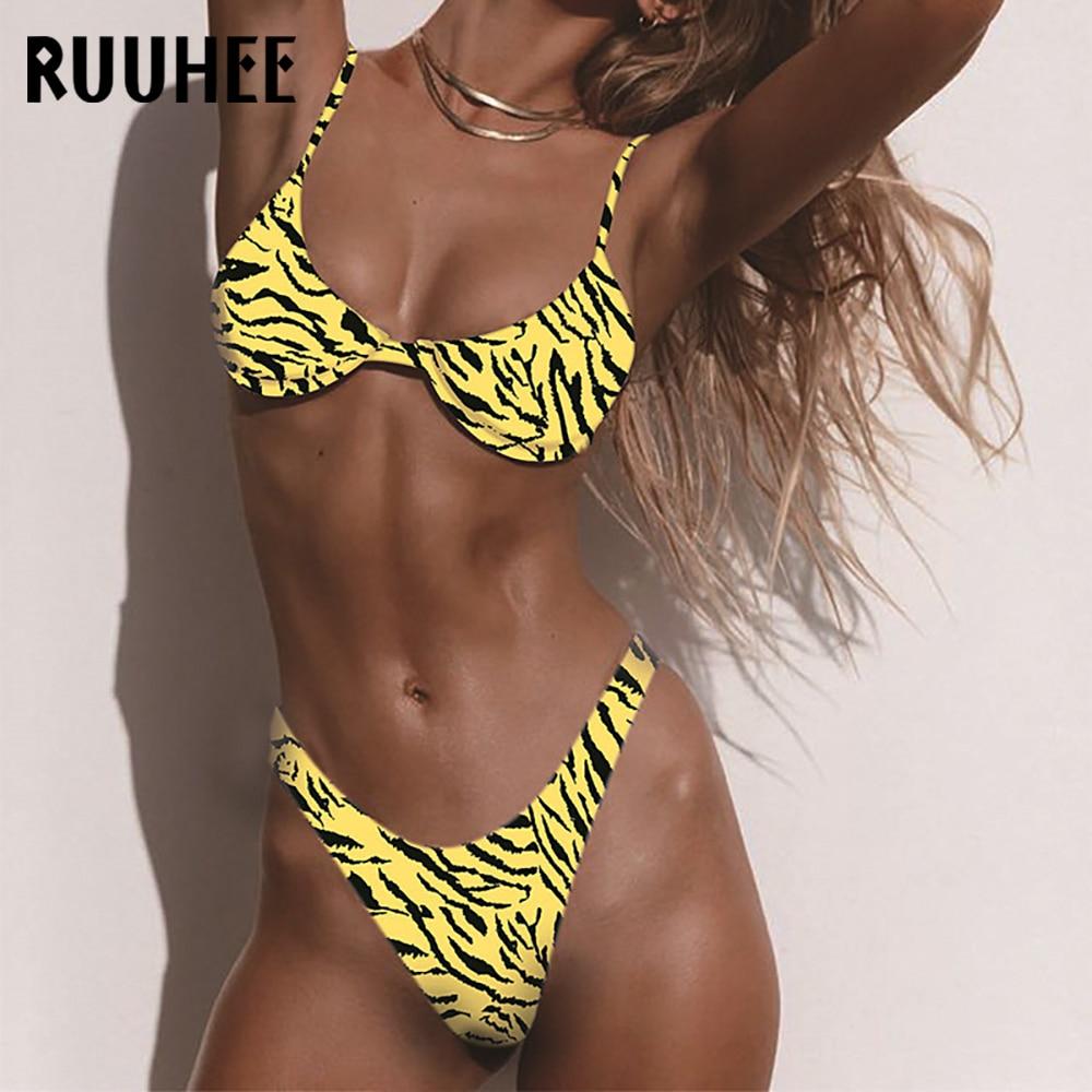 RUUHEE Brazilian Print Bikini Swimwear Women Swimsuit Backless Bikini Set Push Up High Cut Bathing Suit Beachwear 2020 Biquinis