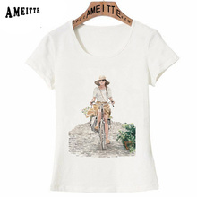 Bonita moda ilustración Vintage Francés París bicicleta paseo impreso camiseta verano Hipster mujer camiseta chica Casual tapas arte camisetas