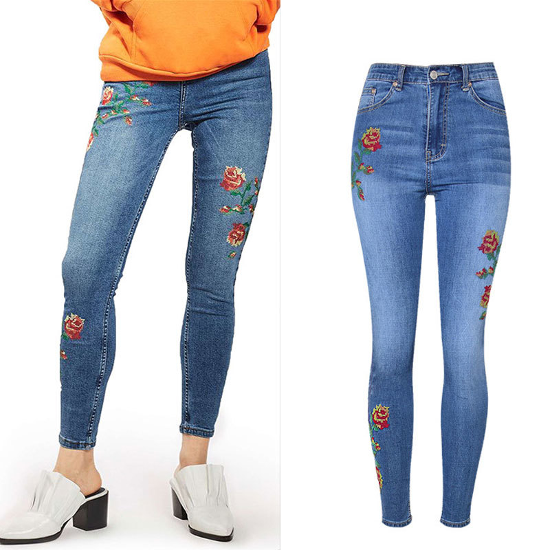 Pants Floral-Embroidery Jeans Denim Skinny Women High-Waist Femme Ankle-Length Sherhure