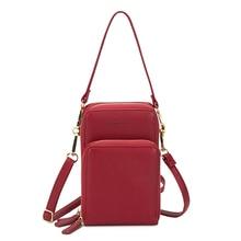Bolsa feminina crossbody saco do telefone zíper impermeável sólido couro do plutônio saco de embreagem saco de cartão bolsa carteira esporte ao ar livre 3 camada de armazenamento