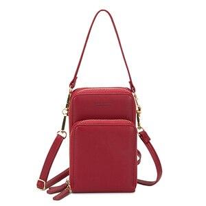 Image 1 - Bolsa feminina crossbody saco do telefone zíper impermeável sólido couro do plutônio saco de embreagem saco de cartão bolsa carteira esporte ao ar livre 3 camada de armazenamento