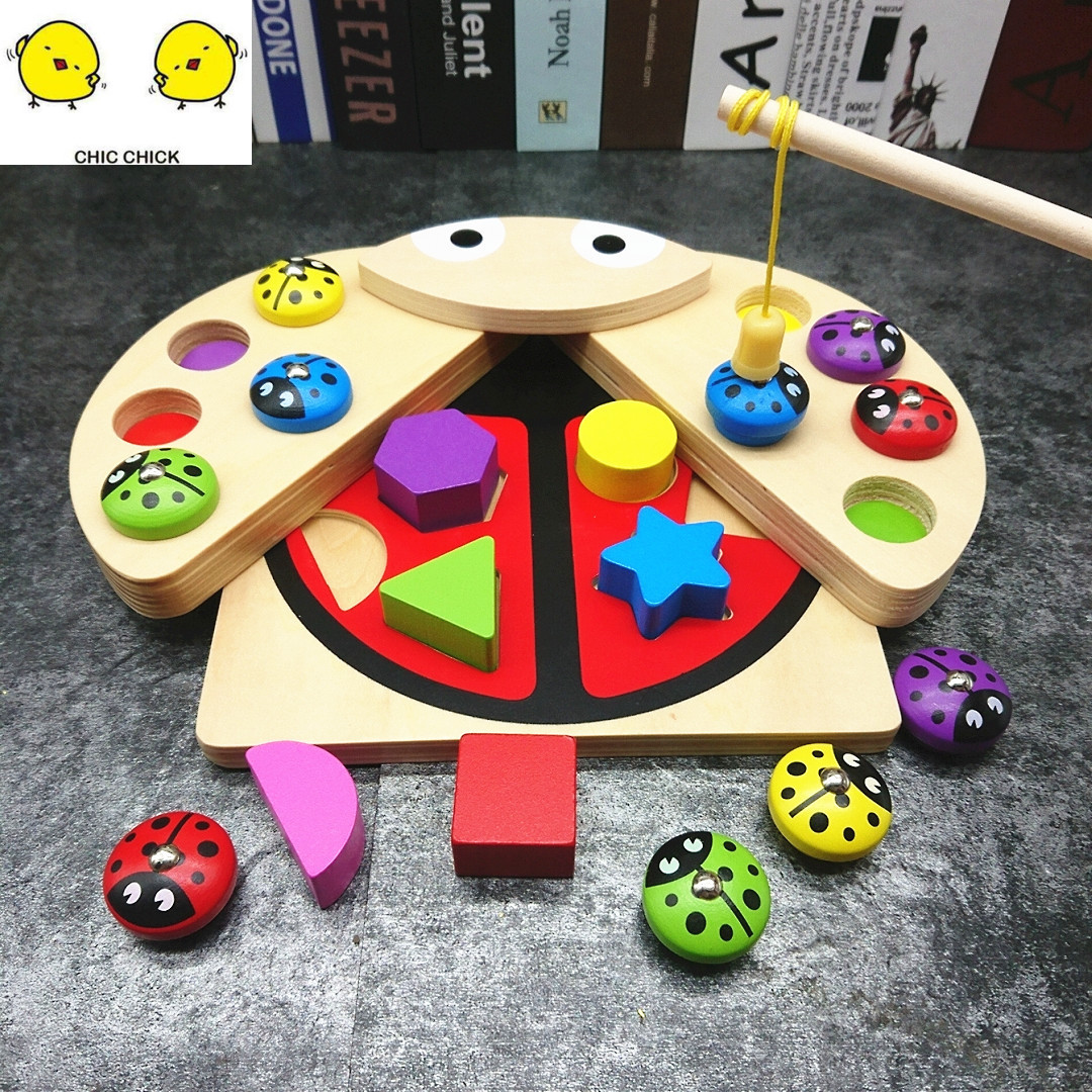 Puzzle en bois 3D pêche magnétique coloré Puzzle en bois jouets éducatifs développement bébé jouet enfant début formation jeu ensemble