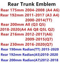 4 anel abs capô do carro frente grill tronco traseiro emblema logotipo adesivo decalque para audi a3 a4 a5 a6 a7 q8 acessórios estilo