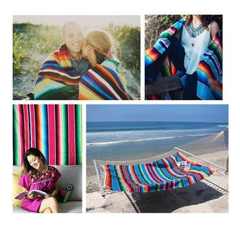 Ethnic Rainbow Striped Beach Towel Bohemia Mexican Navajo Serape Blanket Multifunctional Bathroom Towel/tablecloth/Sofa Towel 2