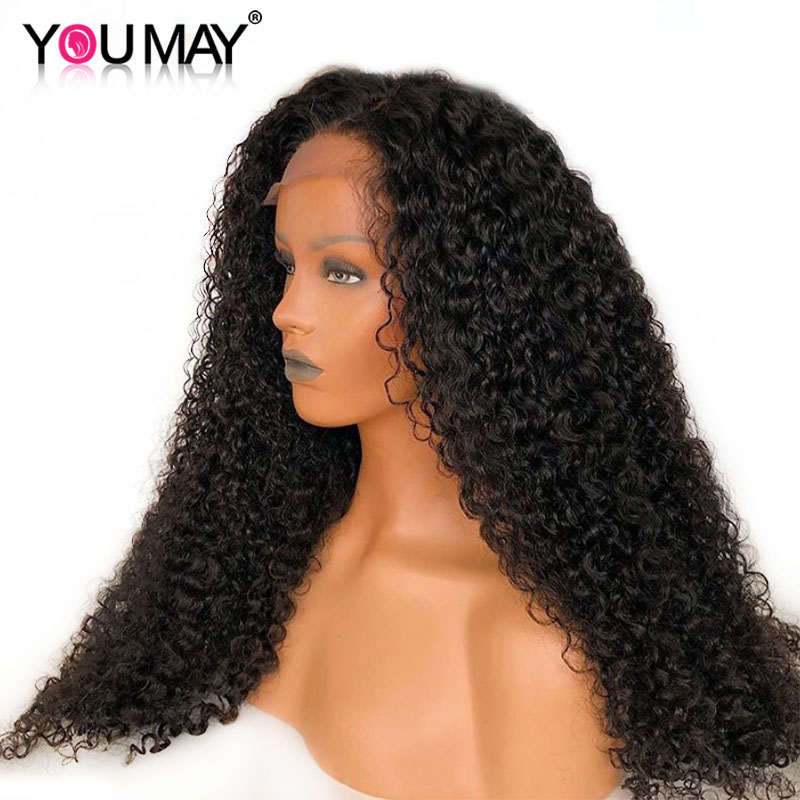 250% Density Curly Lace Front Human Hair Wigs For Black Women You May Brazilian Remy Hair With Baby Hair Bleached Knots