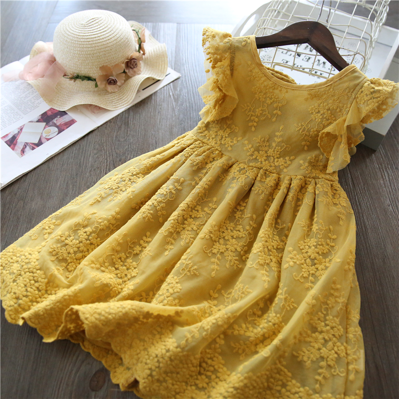 Filles robe 2019 nouvelle marque d'été filles vêtements dentelle et fleur conception bébé filles robe enfants robes pour filles tenue décontracté 3 8 Y
