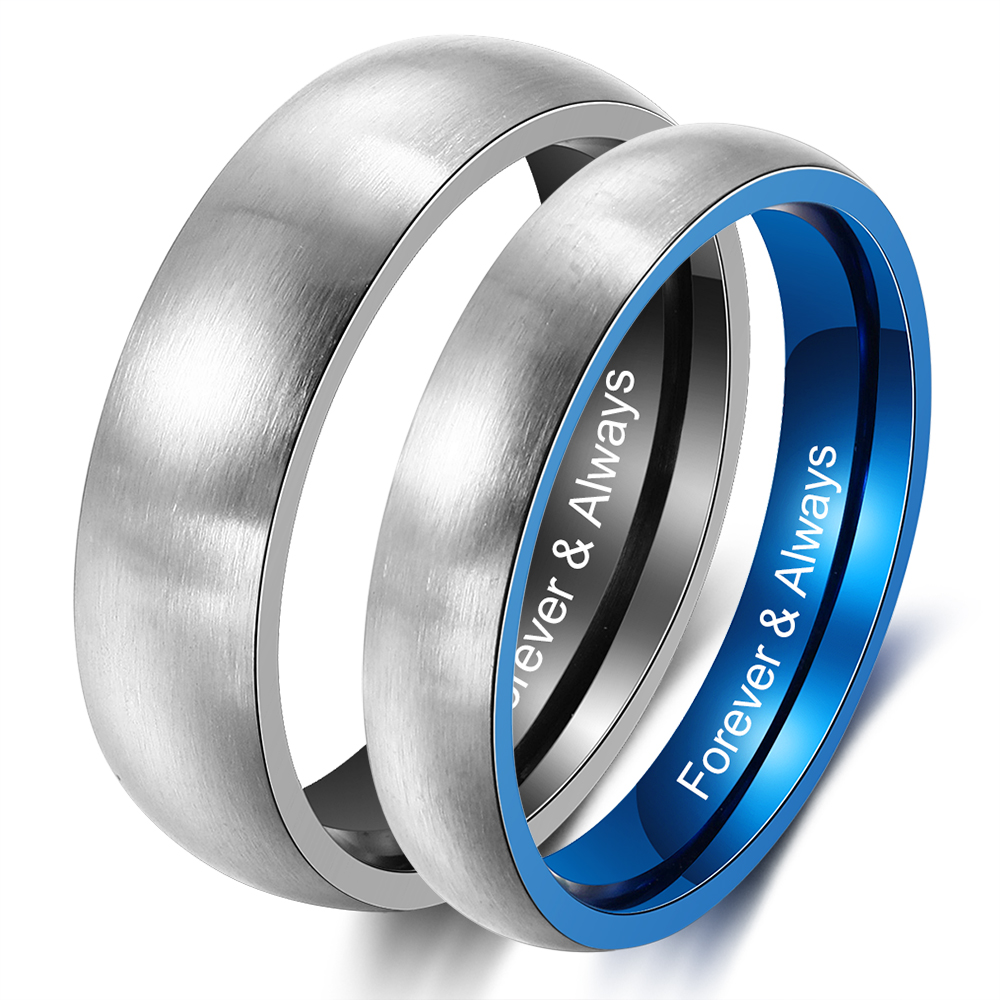 Personalized Wide Polished Beveled Edge Brushed Matte Couples Titanium Wedding Band Ring for Men 7MM Custom Engraved