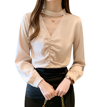 Korean Silk Women Blouses Women Shirts Elegant Wom