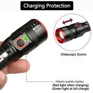 Image 2 - 防水 5200LM usb充電式フラッシュライトXML T6 led懐中電灯ズーム可能な 3 モードトーチ 18650 usbケーブルキャンプz40