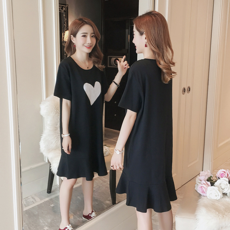 Short Sleeve Nightgown Women's Summer Nightgown Black And Blue Heart Fishtail Skirt M-XXL (10 Yuan) To Fight A Lot Of Usable Fig