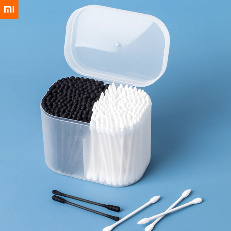 New Xiaomi Jordanjudy Cotton Swab With Make Up Cotton Dustproof Storage Box Medical Ear Cleaning Black Round And White Pointed