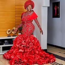 Aso ebi Красный Русалка вечернее платье для танцев; Платье с
