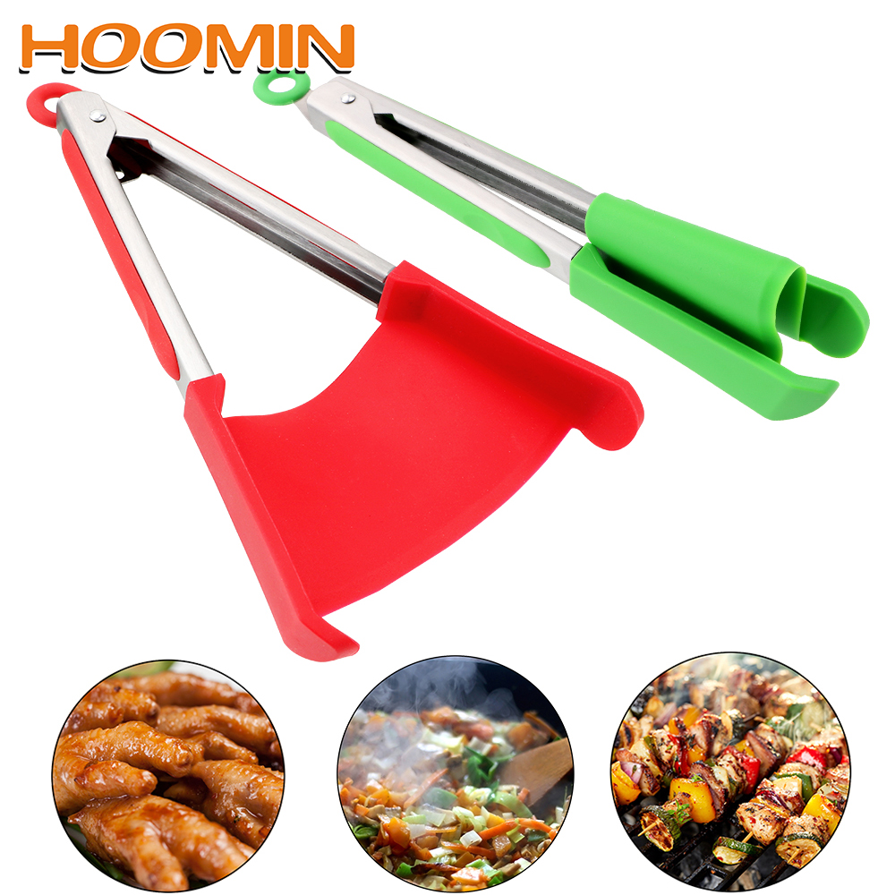 HOOMIN Gadget Silicone Non-Stick 2 in 1 Kitchen Spatula and Tongs Heat Resistant Cooking Tools Bread Clip