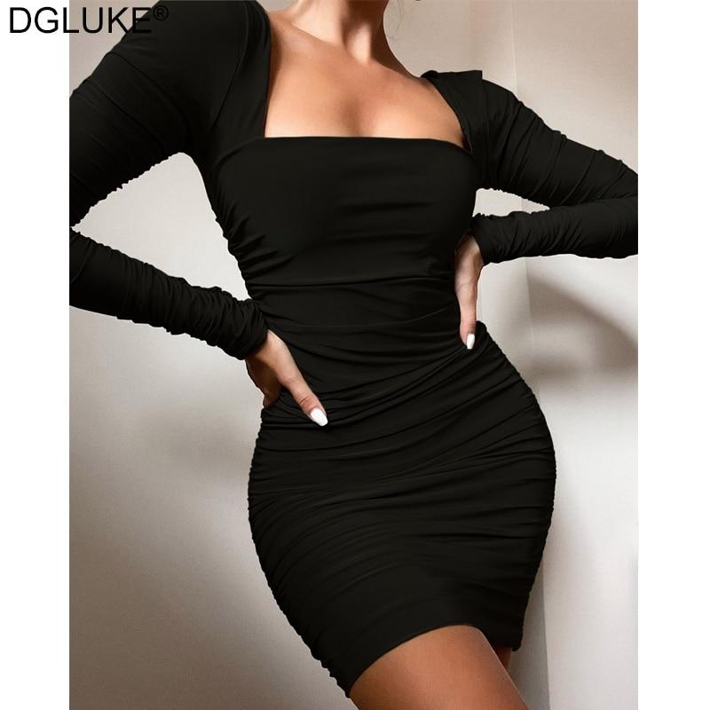 Minisoya Women Sport Casual Long Sleeve Striped Patchwork Club Party Dress Ladies Bodycon Mini Pencil Dress