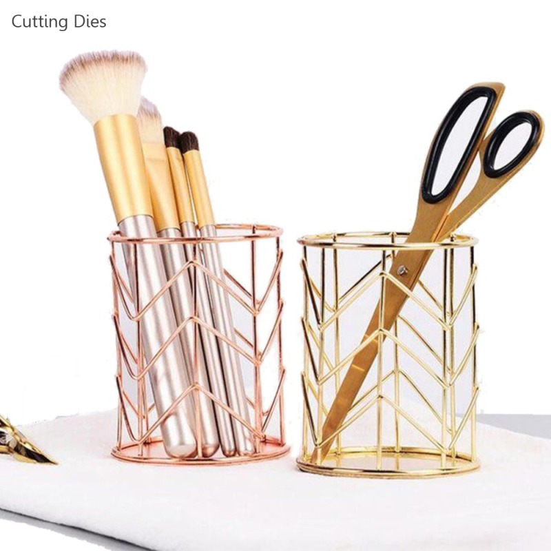 Gold Rose Gold Color Hollow Pen Pencil Brush Pot Holder Makeup Brushes Storage Desk Organiser Container Organizer Stationery