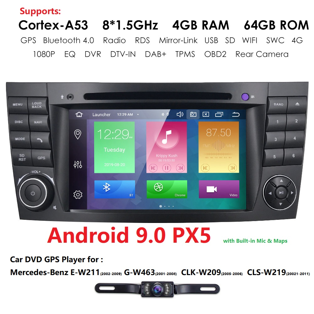 DSP IPS 4G 64G Android 9.0 2 din car DVD player For <font><b>Mercedes</b></font> Benz E-class <font><b>W211</b></font> E200 E220 E300 E350 E240 E270 E280 CLS CLASS W219 image