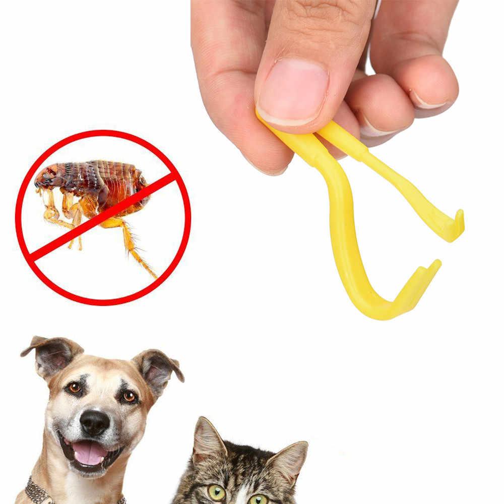 # H30 2 sztuk zwierzęta Tick narzędzie do usuwania podwójne zęby Tick koty psy środki czystości roztocza Twist narzędzie do odczepiania haczyków hak artykuły dla zwierząt