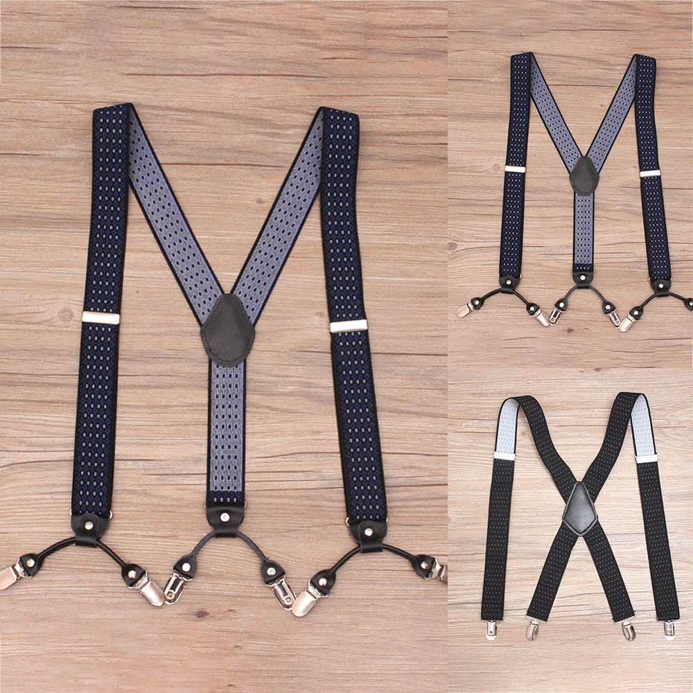 Fashion Bts Bangtan Dot Design Suspenders Gents Mens 3.5cm Wild Adjustable Braces Suspenders Elastic Szelki Bretelles Pour Homme