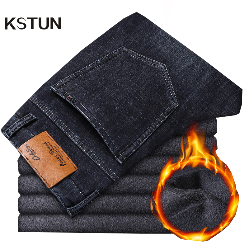 KSTUN Men Jeans Pants Black Jeans Classic Straight Winter Thicken Fleece Stretch Mens Jeans Brand Business Casual Long Trousers