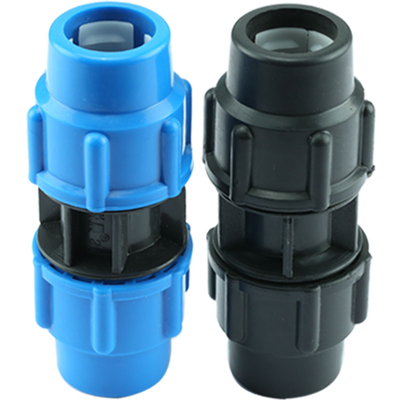 25mm Diameter Plastic Polypropylene Quick Connector Straight Blue Black Caps Adapter PE Pipe Fittings For Irrigation