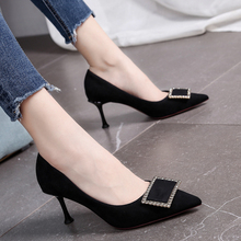 water diamond buckle French pointed high heels