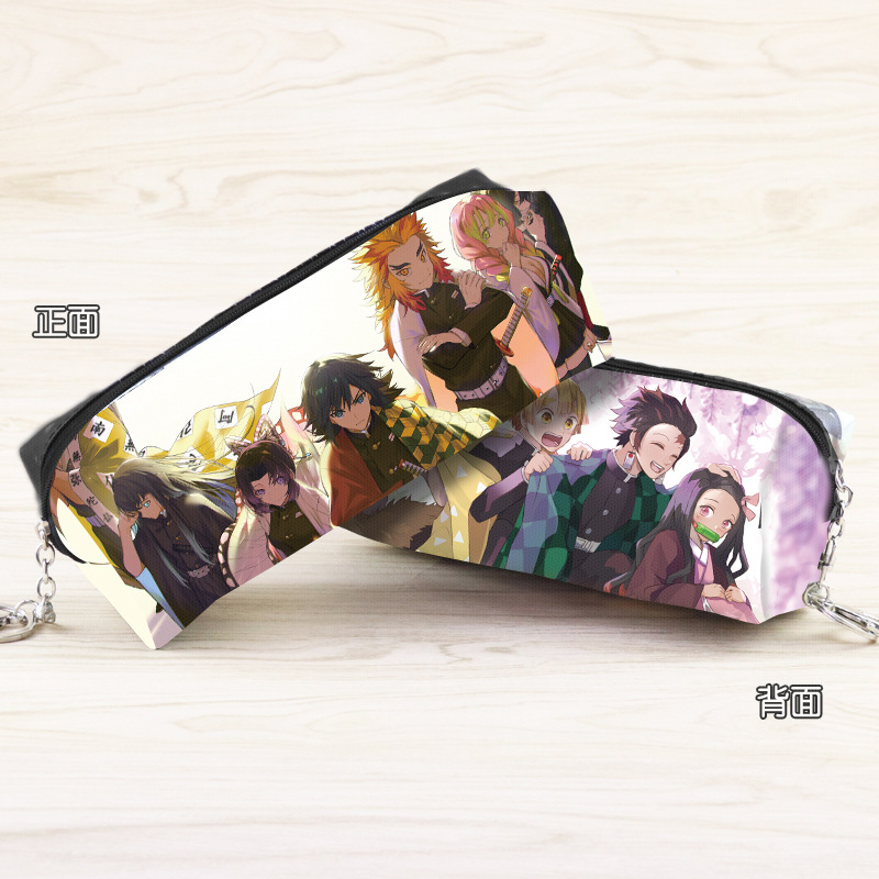 Anime Demon Slayer: Kimetsu No Yaiba Synthetic Leather Pencil Pouch Kamado Tanjirou Cartoon Character Cosmetic Bag
