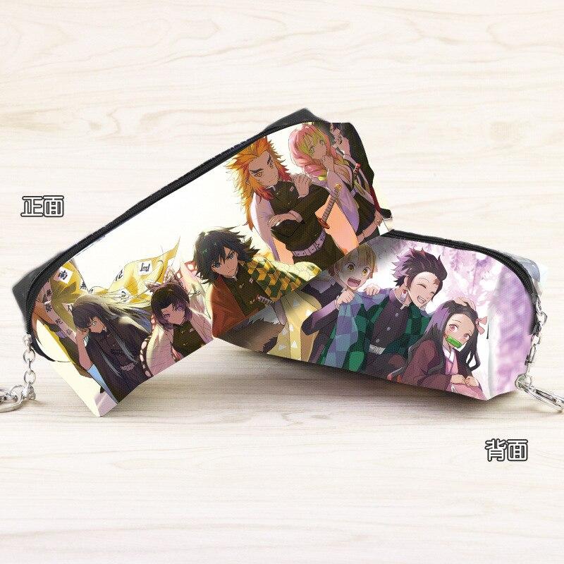 Anime Demon Slayer: Kimetsu No Yaiba Synthetic Leather Pencil Pouch Kamado Tanjirou Cartoon Character Cosmetic Bag