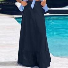 2021 ZANZEA Women Summer Skirts Bohemian High Waist Solid Color Skirt Jupe Femme Faldas Saia Casual Ruffles Hem Long Retro Skirt