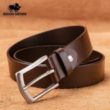 BISON DENIM Vintage Real Genuine Leather Men Belt Stainless Steel Pin Buckle Cla
