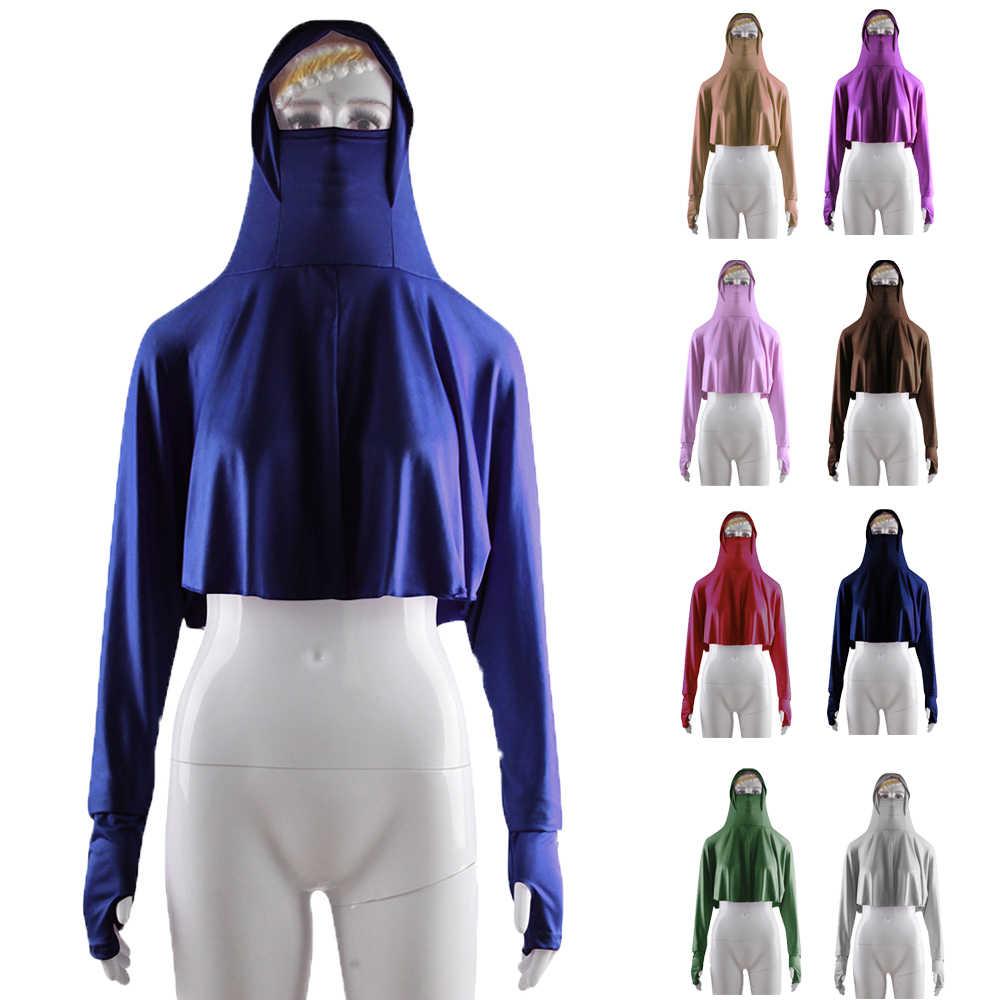 Ramadan Salah Satu Bagian Islam Wanita Kerudung Atasan Penutup Penuh Hijab Berkerudung Arab Muslim Burqa Niqab Blus Lengan Panjang T-shirt