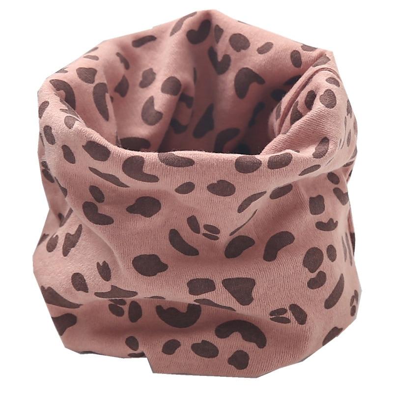 Осенне-зимний детский хлопковый плюшевый шарф, детский шарф для девочек, шарфы для мальчиков и девочек, детский воротник, детский волшебный шейный платок с круглым вырезом - Цвет: leapord pink