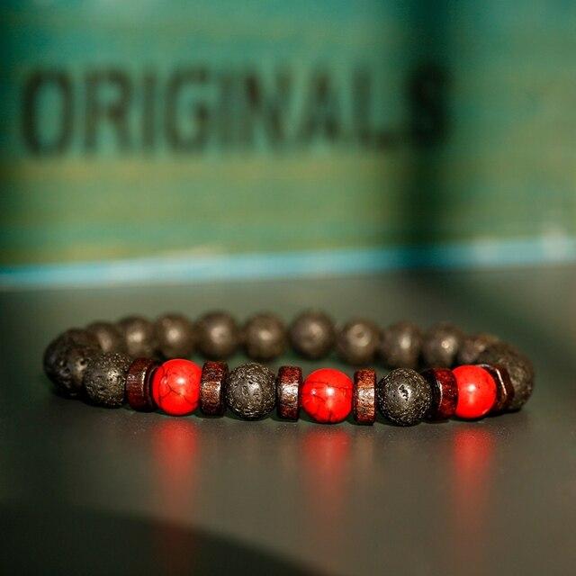 Классические браслеты из черной лавы и Красного камня, мужские молитвенные аксессуары для медитации, женские Украшения для йоги, Прямая поставка