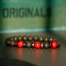 Klassische Schwarz Lava Rot Stein Armbänder Männer Gebet Meditation Holz Perlen Armband Frauen Schmuck Yoga Dropshipping
