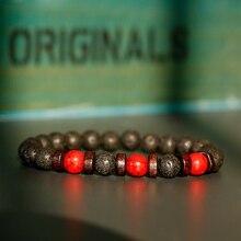 Klasyczna czarna lawa czerwone kamienne bransoletki mężczyźni modlitwa medytacja drewno bransoletka z koralików kobiety biżuteria joga Dropshipping