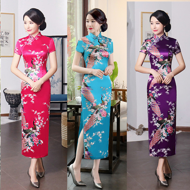 XL Cheongsam Women New Retro Slim Chinese Style Old Shanghai Catwalk Show Qipao Dress Daily Short Sleeve Mother Wear Cheongsam