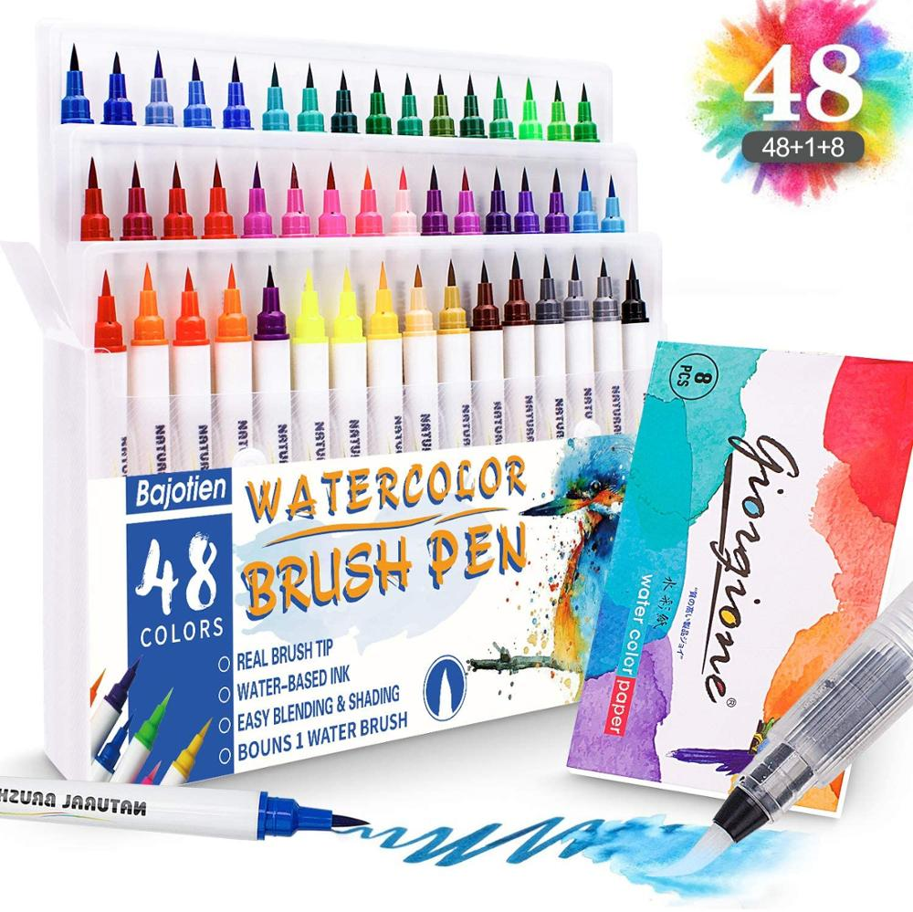 48 Colours Real Watercolour Brush Pens Set With 1 Water Brush Pen And 1 Watercolor Pad For Colouring Books, Calligraphy, Drawing