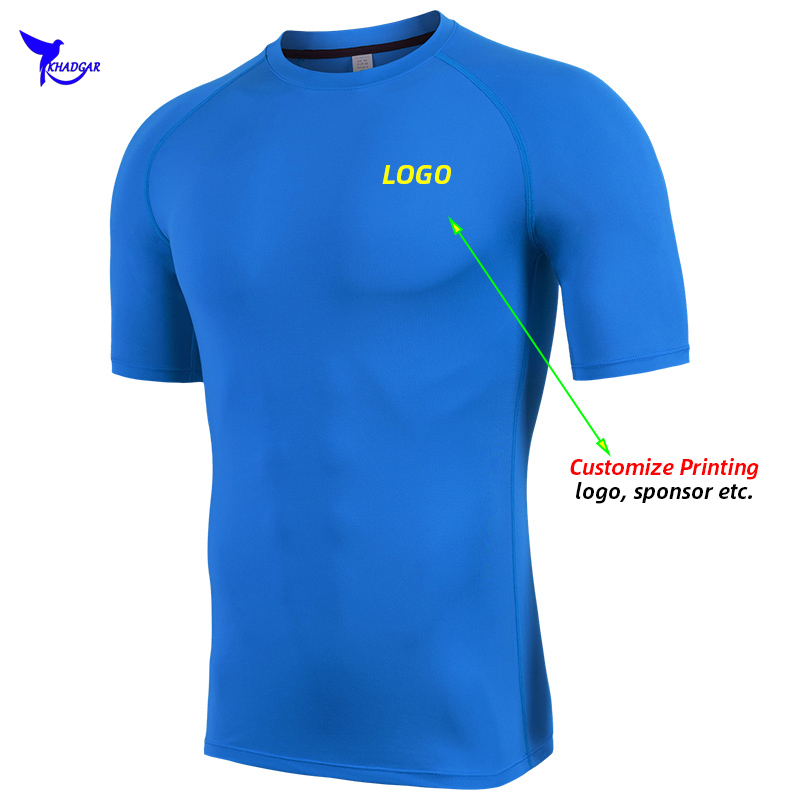 2020 Summer Quick Dry Stretch Fitness T-Shirts Men Breathable Running Shirt Gym Compression Sportswear Top Tee Customize LOGO