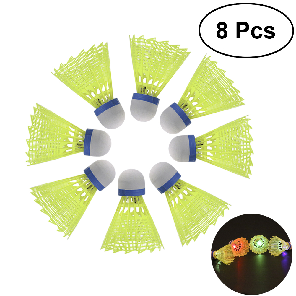 8PCS LED Badminton Shuttlecocks Lighting Birdies Shuttlecock For Indoor Outdoor Sports Activities