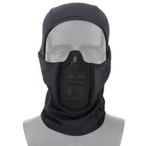 Image 2 - قناع تكتيكي Airsoft كامل الوجه من الفولاذ الشبكي قناع من البوليستر للاكلافا والصيد CS خوذة واقية للركوب