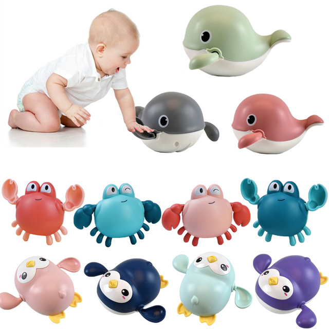 Baby Bath Toys Animal Cute Cartoon Tortoise Crab Classic Baby Water Toy Infant Swim Chain Clockwork Toy For Kid 2021 Newest 1