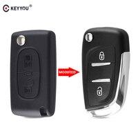 Keyyou modificado filp dobrável remoto caso escudo chave do carro para peugeot 207 307 407 408 308 para citroen c4 c2 hu83/va2 lâmina ce0536|Chave do carro| |  -