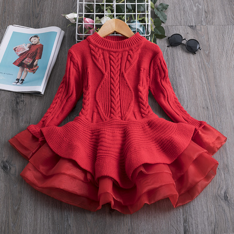 H05df9c4c5b2c4452939887e5f929ecefC 2019 Winter Knitted Chiffon Girl Dress Christmas Party Long Sleeve Children Clothes Kids Dresses For Girls New Year Clothing