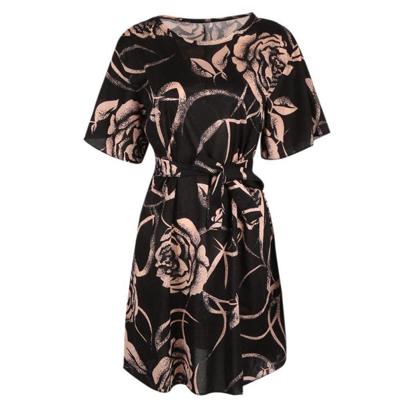 2020 Sexy Women Short Party Dress Sleeve Ruffles Women Elegant Chiffon Short Casual Print Dresses Double Floral